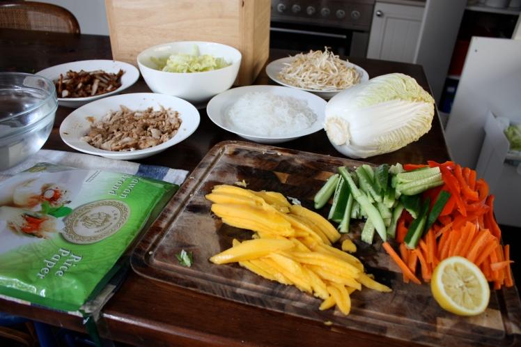 Chicken Mango Rice Paper Rolls