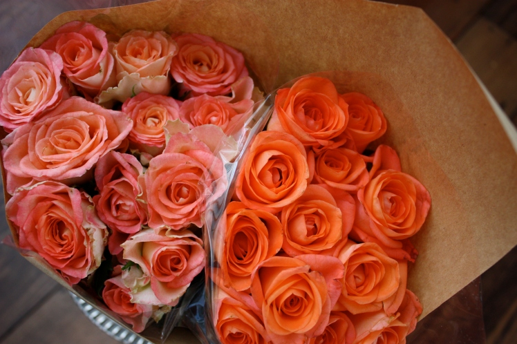 Roses in brown paper
