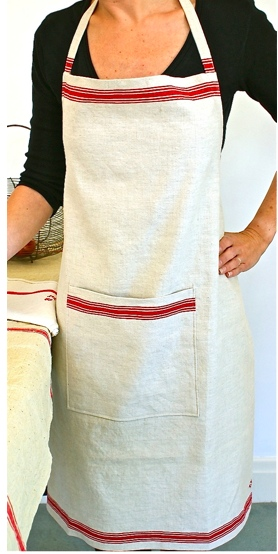 Red Striped Linen Apron