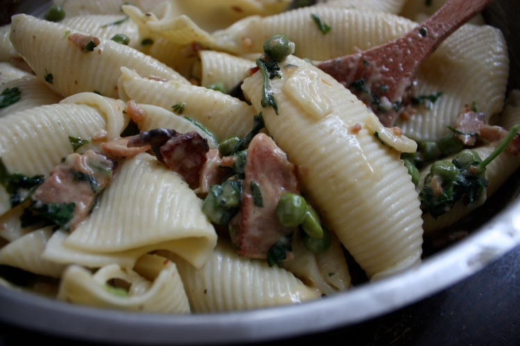 Braised Bacon and Pea Pasta