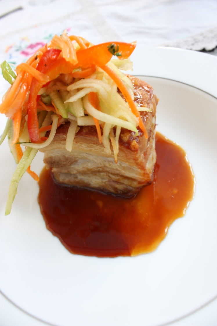 Crispy Soy Pork Belly with Apple Crunch Salad | brownpaperbelle.com
